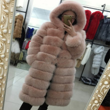 Russianatural Fur Coat Fox Whole Skin Long Bar Silver In Europereal Russian Coats