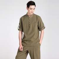 Vintage Green Men Summer Casual Cotton Linen Shirt Chinese Style Kung Fu Shirt Martial Arts Clothing