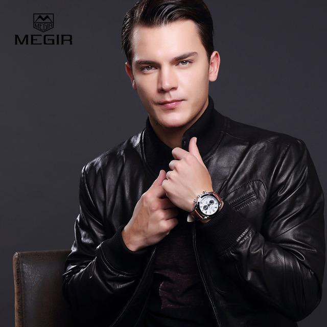 megir fashion leather sports quartz watch for man military chronograph wrist watches men army style 2020 free shipping