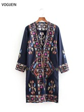VOGUEIN New Womens Retro Floral Embroidery 3/4 Sleeve Kimono Cardigan Blouse Tops Wholesale