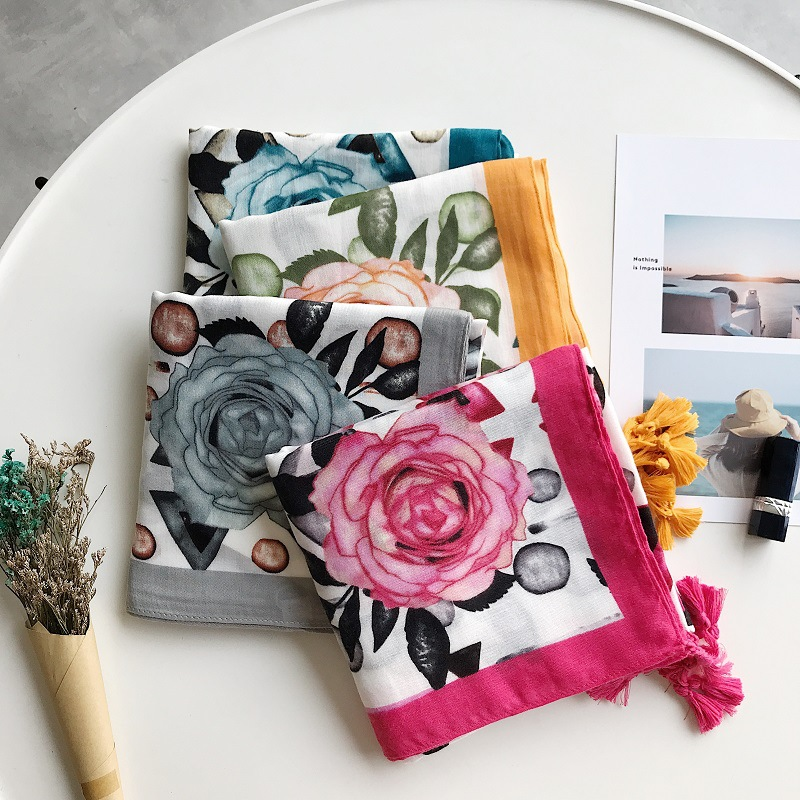 2019 Fashion Rose And Geometry   Scarves   Shawl Cotton Trendy Floral   Scarf     Wrap   Hijab Muffler Wholesale 10pcs/lot Free Shipping