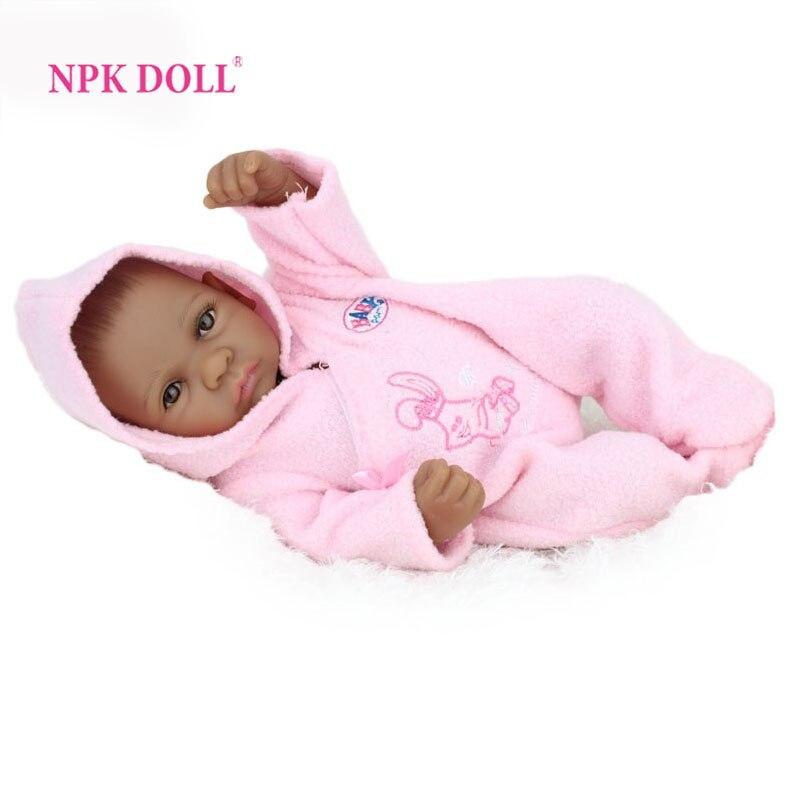 NPKDOLL 10 inch 25 cm Mini Baby Reborn African American Baby Doll Black Girl Full Silicone Body Reborn Baby Dolls For Girls 1