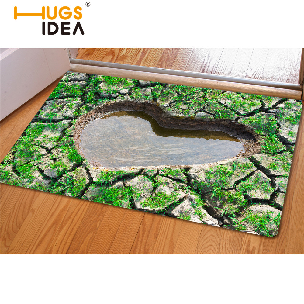 Hugsidea 3d Green Heart Shaped Carpet For Home Living Room Exclusive Kitchen Non Slip Floor Mat Entrance Welcome Tapis Rugs Mat