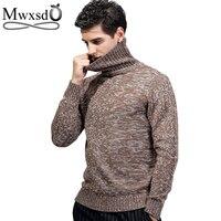 Mwxsd brand new autumn winter men's fashion Turtleneck Pullovers Sweaters Men Long Sleeve Men Knitwear Jumpers Sweater