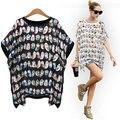 Fashion 2015 Shirt Women T-Shirt Brand New Vestidos Summer Loose Cotton Women's Tops Adorable Birds Printed Blusas Femininas