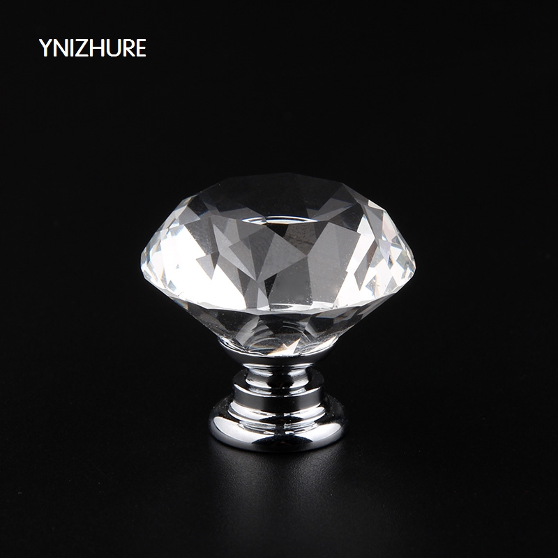 YNIZHURE 10Pcs 30mm  Hot Cupboard Decoration Diamond Shape Crystal Glass Door Handle For Furniture Drawer Pull