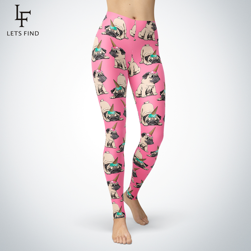 2019 New Women Pink   Leggings   Fashion High Elasticity Fitness Pants Mid Waist Double Side Brushed Milk Silk Unicorn Dog   Leggings
