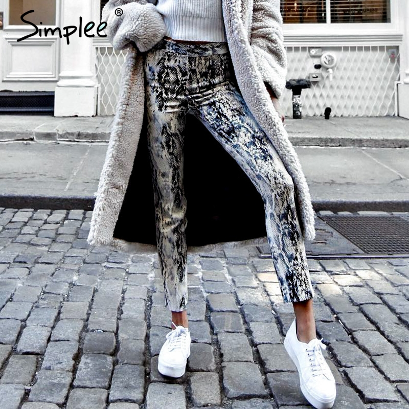 Simplee Snake print denim skinny   jeans   women Streetwear high waist elastic female pants Korean punk pencil winter trousers 2018