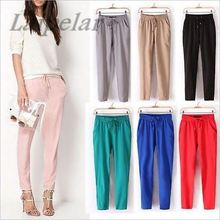 2018 Spring Summer bestselling Pants thin Plus Size Women Pants Casual Harem Trousers Drawstring Elastic Waist Pants Female plus size women plaid pants 2019 spring new streetwear style drawstring waist harem pants lining mesh pockets design capri pants