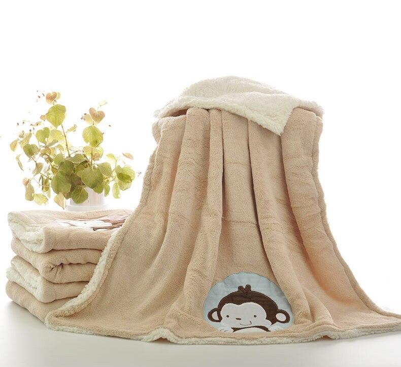 Baby BlankeT Fleece Kids Winter Polar Blanket Monkey Pattern Baby Flannel Receiving Blanket  Bedding Cover Baby Winter Swaddles