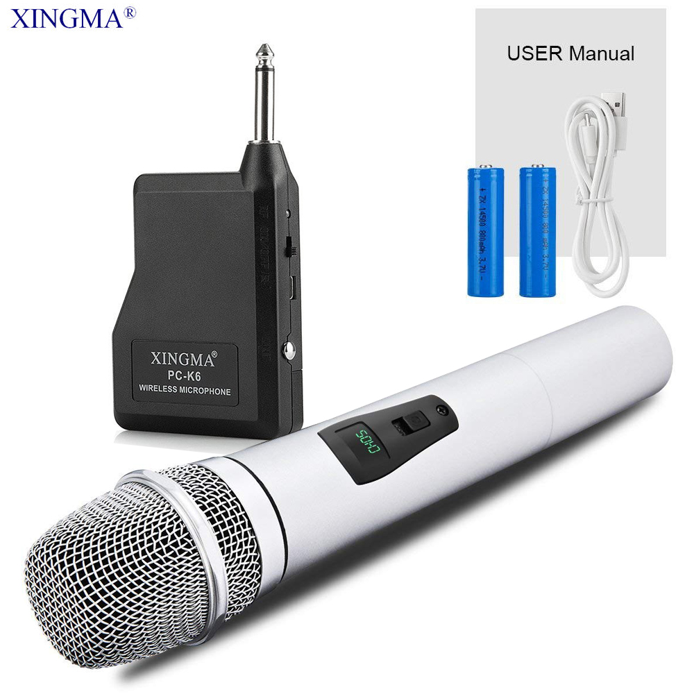 XINGMA PC-K6 Wireless Microphone For Karaoke Professional Handheld Studio Vhf Dynamic Mic For Computer KTV System With Battery