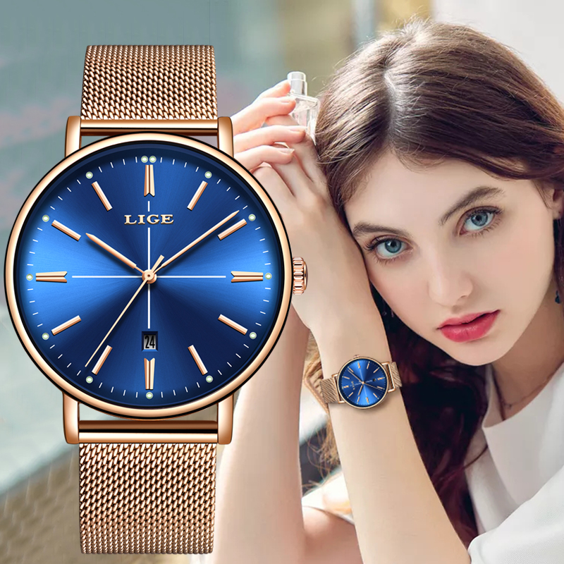 2019 LIGE New Rose Gold Blue Table Womens Business Quartz Watch Ladies Brand Top Luxury Ladies Watch Girl Clock Relogio Feminino
