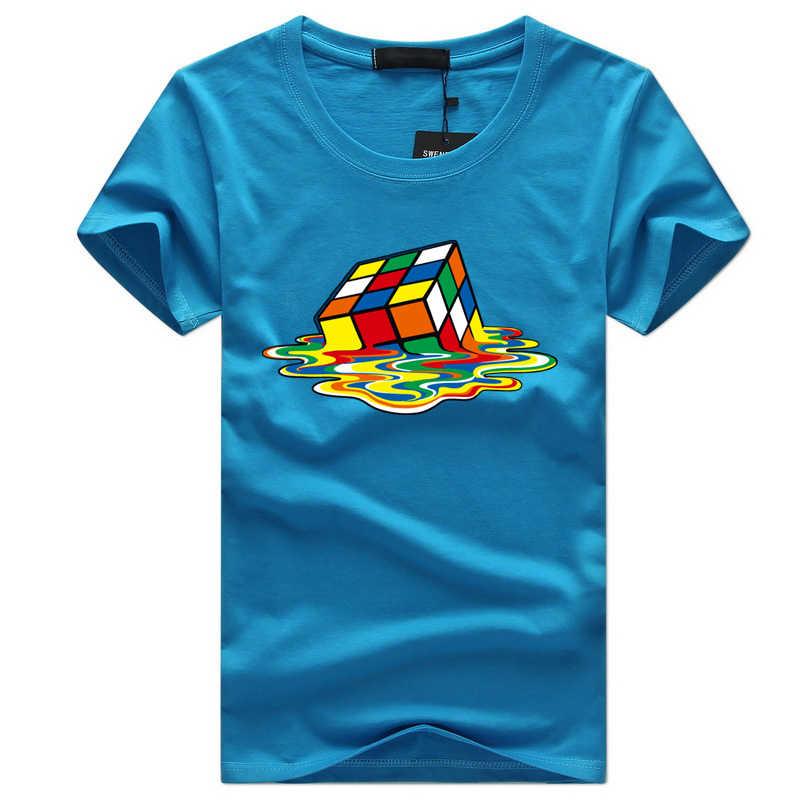 2fd7bac16445 ... Rubik Cube Print T Shirts Men & Women Fashion Design Summer O-neck Plus  size ...
