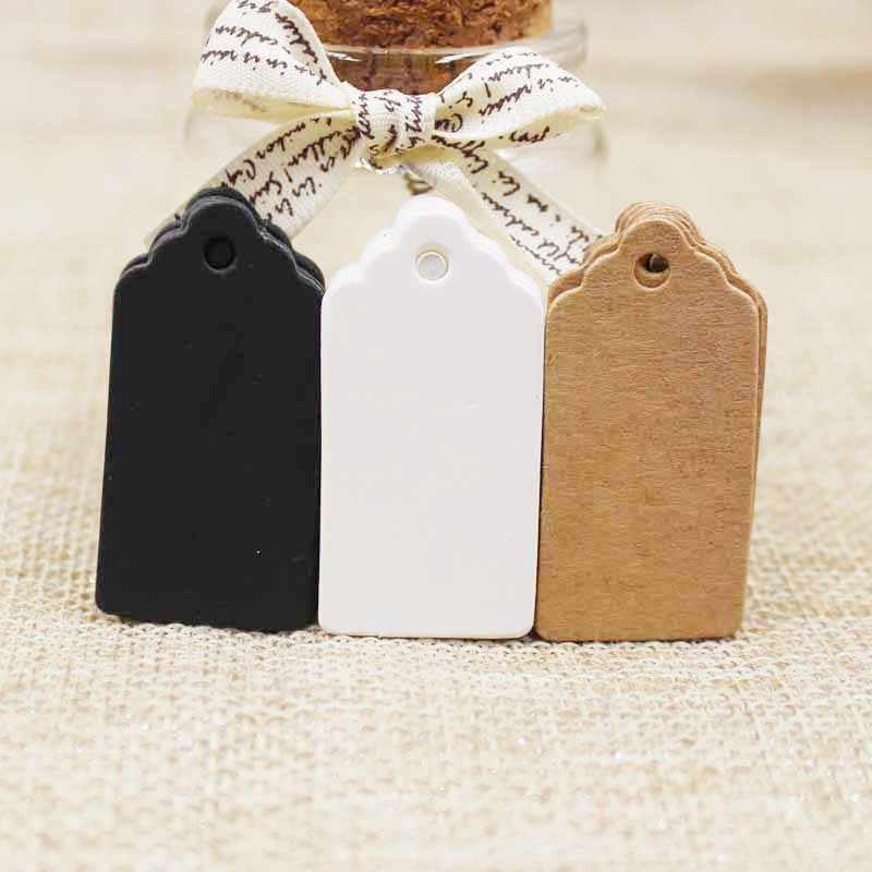 Sull'etichetta della confezione 100 pz Kraft Marrone/bianco/nero Carta cartellini Etichetta Alimentare FAI DA TE Regalo di Nozze Decorare Tag 2*4 cm