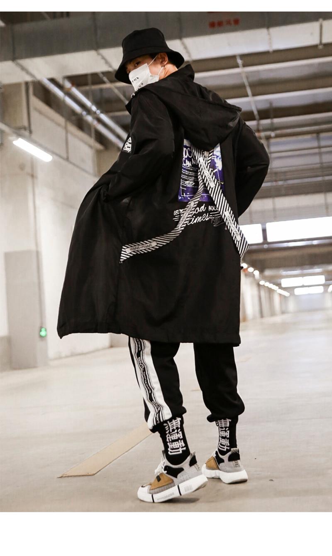 Long Men Trench Coat Casual Spring 2018 Slim Fit white Mens Hood Street South Korea Clothing (2)