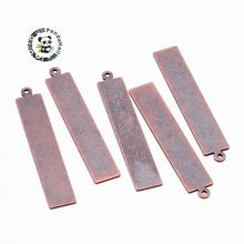 Metal Tags, Brass Blank Stamping Tag Pendants, Rectangle, Red Copper, 41x7x0.3mm, Hole: 1mm