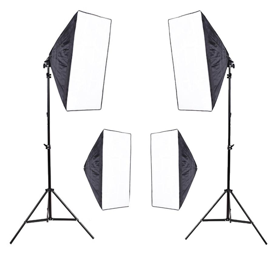 Photo Studio Video Lighting Kit Photography two 200cm Light Stand + four 50x70cm Softbox  PSK13 high quality new arrive lightdow photography studio 45w softbox light stand kit
