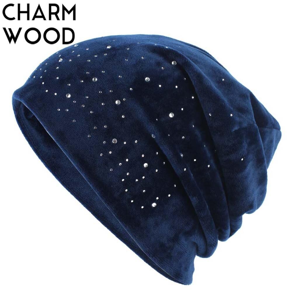 2018 Winter Velour Slouchy Beanie Hat For Women Cashion Rhinestones Diamond Skullies&Beanies Female Balavaca Soft Warm Hats