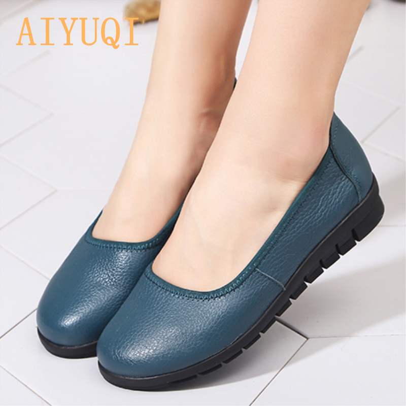 AIYUQI 2019 spring 100 natural genuine leather women 39 s flat shoes black shallow mouth Loafers soft bottom ladies casual shoes in Women 39 s Flats from Shoes