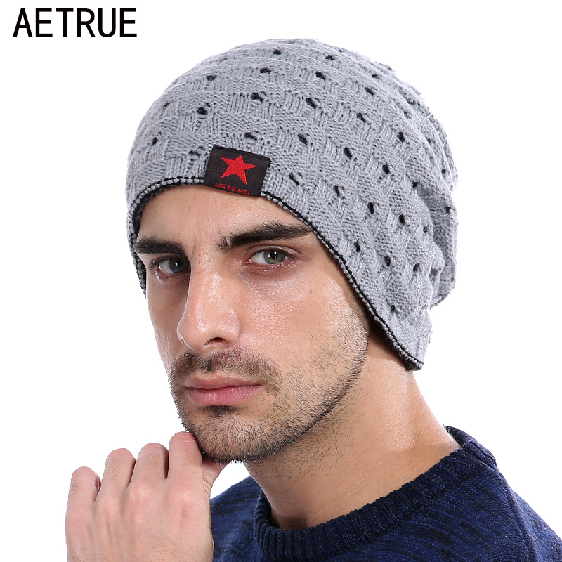 AETRUE Brand Knitted Hat Men Winter Beanies Caps Women Five Star Baggy Bonnet Blalaclava Skullies Winter Beanies For Men Hat
