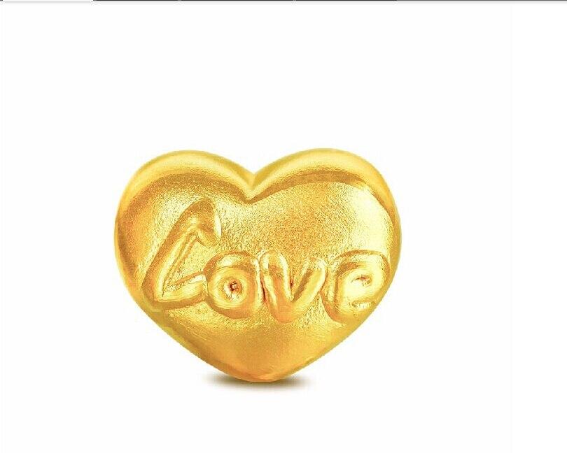 2015 Summer Solid 999 24K Yellow gold 3D LOVE Pendant 0.75g