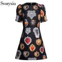 Svoryxiu 2018 Runway Vintage little Black Dresses Women's Chic Puff Sleeve Print Jacquard Female Party Slim A Line Mini Dress