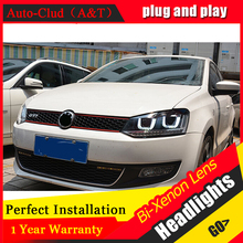 Auto Clud For VW polo headlights U angel eyes DRL 2011 2015 For VW polo LED