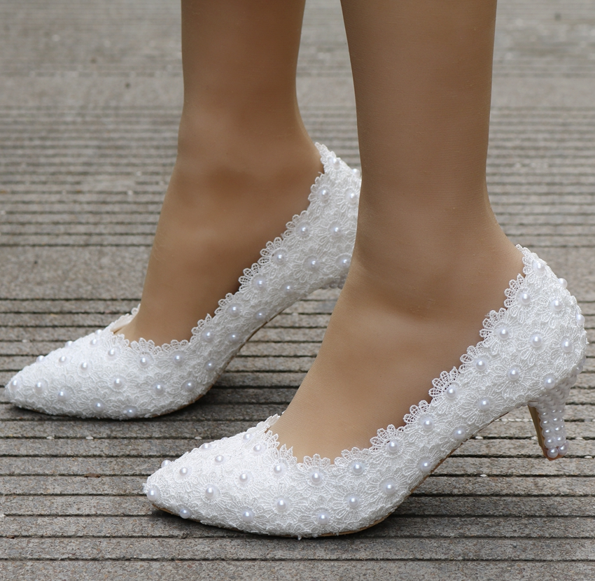 White Wedding Shoes Thick Heel