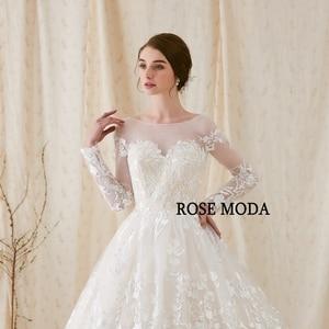 Image 4 - Rose Moda Gorgeous แขนยาว Princess Wedding Ball Gown ต่ำ V V V V V V V V V V V V V V V V V V ชุดแต่งงานลูกไม้กับ Royal Train