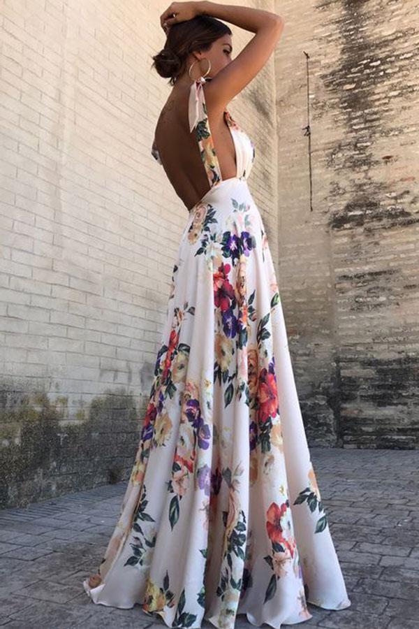 Fashion 2018 Summer Women Maxi Dress Sexy Deep V-Neck Spaghetti Strap Long Sundress Boho Floral Print Backless Beach Dresses
