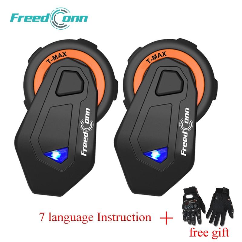 2 pcs FreedConn T-Max 6 Pilotos de Fone De Ouvido do Capacete Da Motocicleta Do Bluetooth Interfone Com Rádio FM Moto Intercomunicador Do Bluetooth 4.1