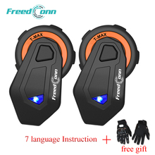 2 pcs FreedConn T-Max Motorcycle Helmet Bluetooth Intercom 6 Riders Headset With FM Radio Moto Intercomunicador 4.1