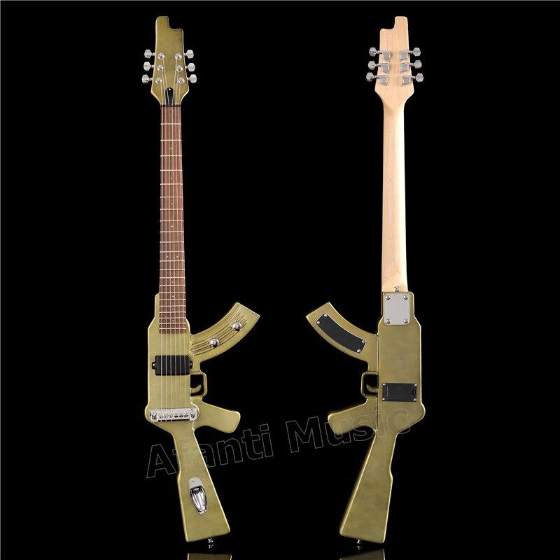 Usine de musique Afanti/corps en acajou, manche en érable/guitare électrique avec lumière LED rouge (AQX-126)