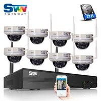 2TB HDD 8CH HDMI NVR Wireless CCTV System 720P HD H 264 IR Night Vision Dome