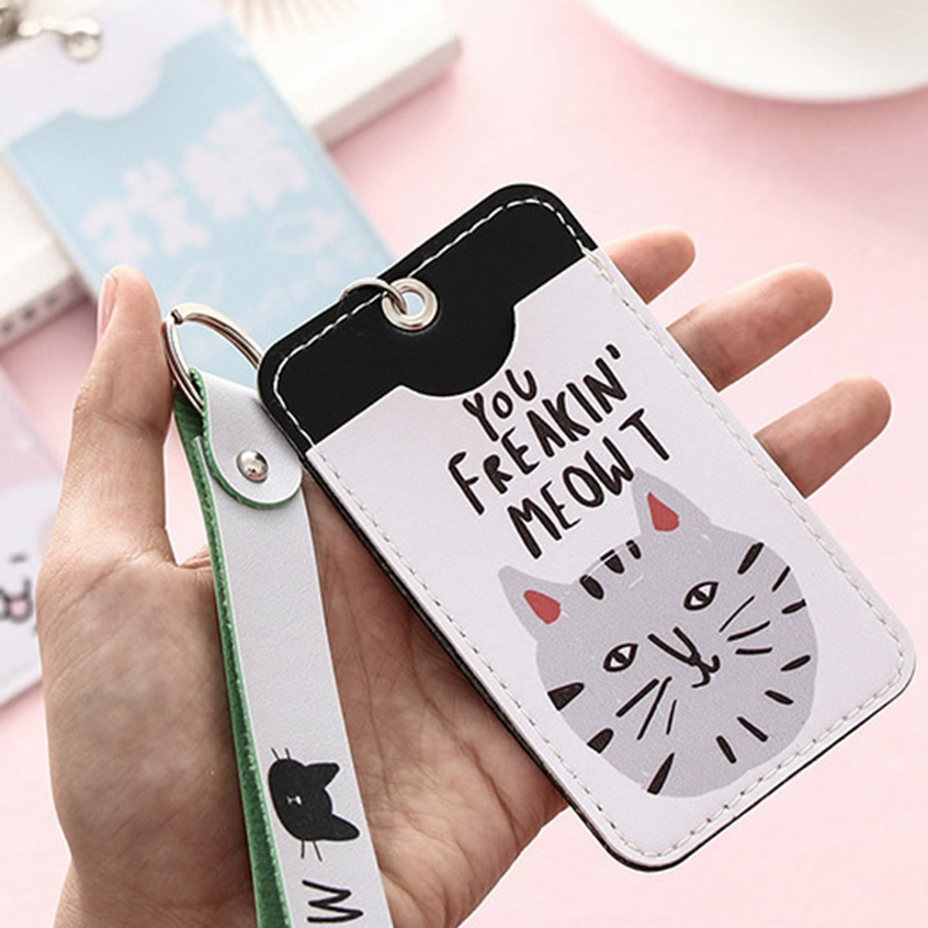 Kawaii Animal Cat Lanyard Bank Credit ID Card Holder Cover Women Travel Bank Bus Credit Card Keyring Key Wallet Chain Holder