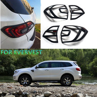 Free Shipping For Everest Accessories ABS Black Tail Light Covers Trim For Ford Everest 2015 2017