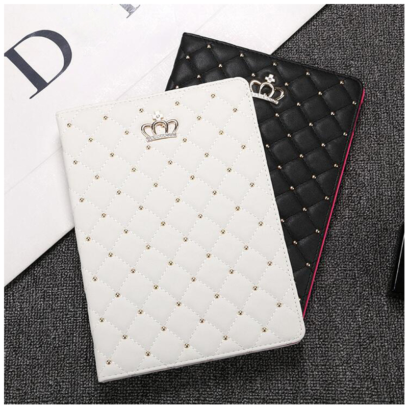 Universal Case for iPad 9.7 2017 2018 Cute Crown Smart PU Leather Sleeve for iPad 9.7 inch 2017 2018 PC Case for iPad mini 4 cute flower pattern protective pu leather case for ipad mini white blue yellow