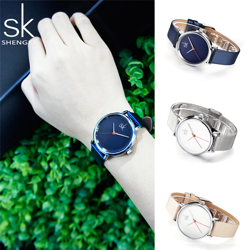 Shengke Top Brand Innovative Læder Watch Fashion Quartz Watch - Dameure - Foto 3