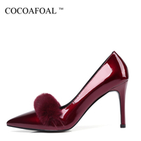 COCOAFOAL Woman Ultra High Heels Shoes Red Gray Black Fashion Sexy Stiletto High Heels Shoes Patent Leather Pointed Toe Pumps