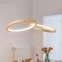 Деревянный светодиодный подвесные светильники для Обеденная два деревянный круглый блеск дерева Кухня светильник Кухня подвесной светиль