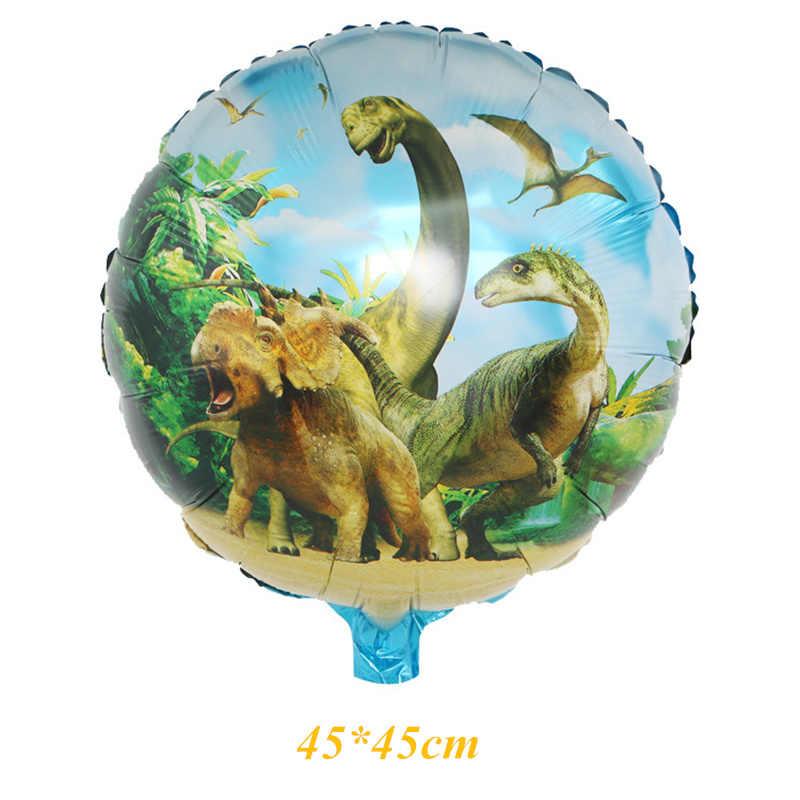 Giant グリーン恐竜ホイルバルーンハッピーバースデー紙のバナージュラ紀恐竜世界装飾ジャングルパーティー用品男の子のおもちゃ