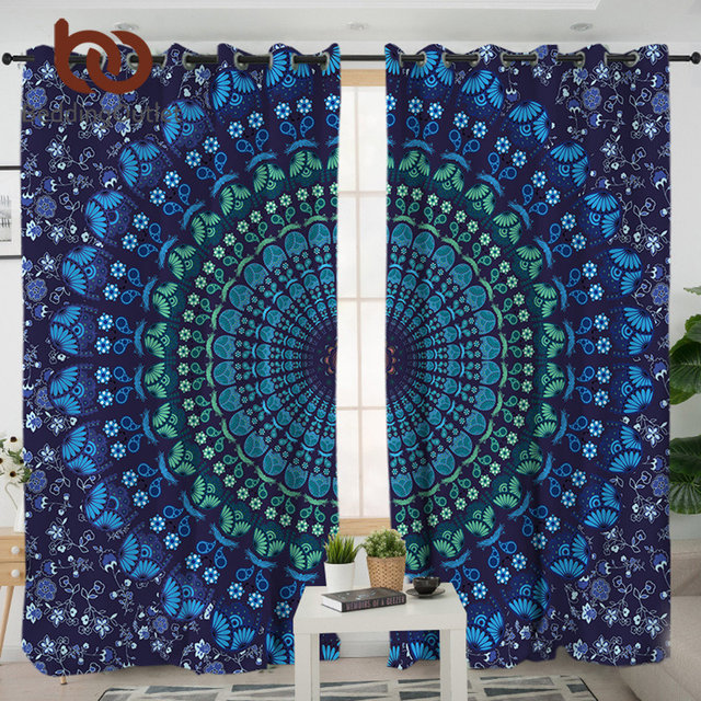 Beddingoutlet Mandala Blue Curtains For Living Room Bohemia Blackout