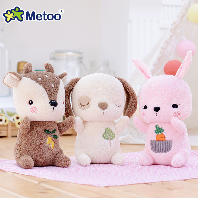 Metoo Health Soft Rabbit Dog Deer Dolls Plush Stuffed Cartoon Kids Toys for Girls Children Baby Birthday Christmas Gift  Doll stuffed dog plush toys black dog sorrow looking pug puppy bulldog baby toy animal peluche for girls friends children 18 22cm