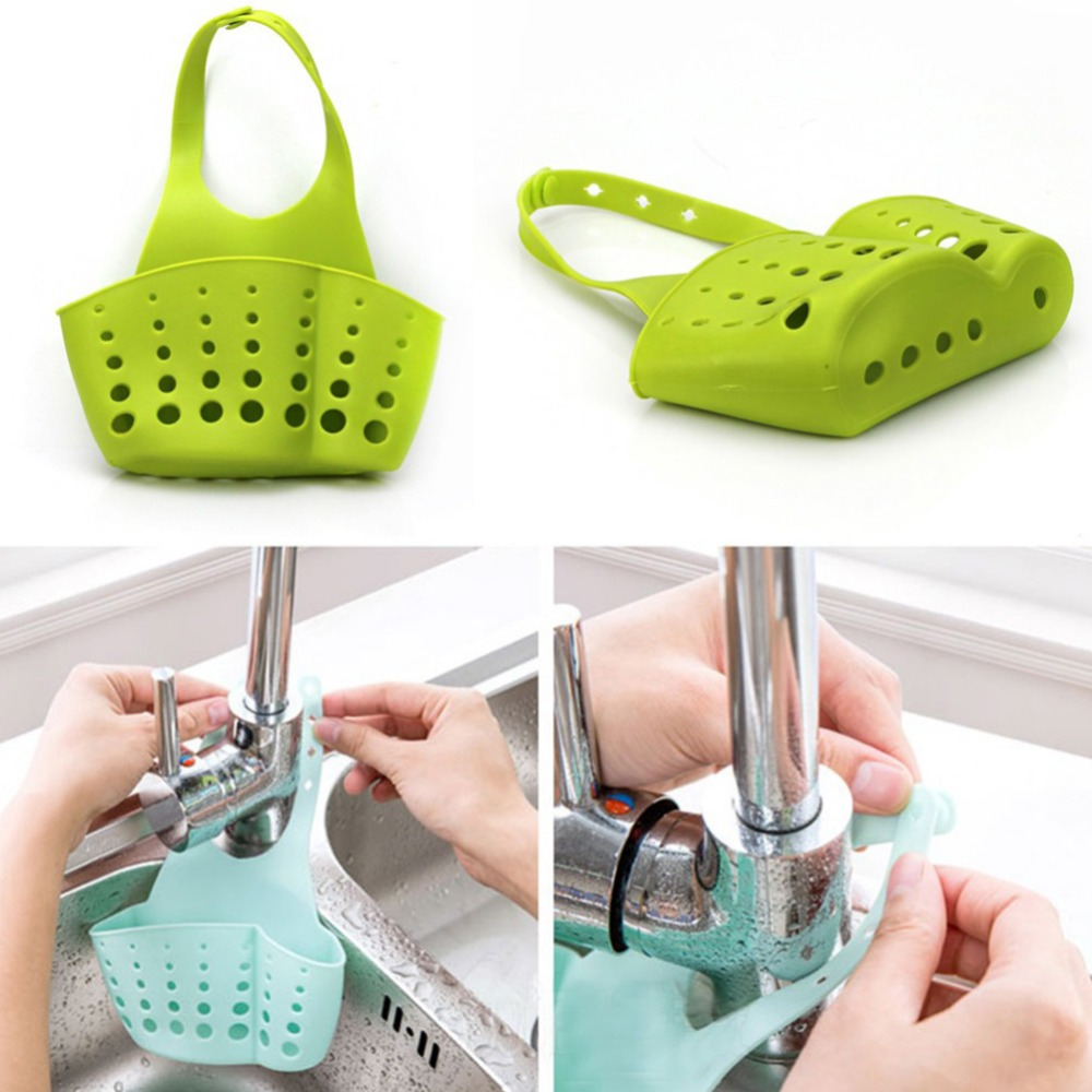 Kitchen Bathroom Sink Sponge Hanging Pvc Shelving Rack Drain Faucet Storage Pail Shelves 4 Colors