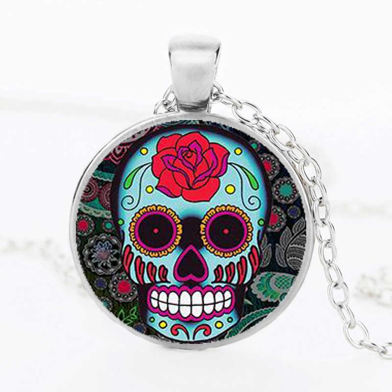 SUTEYI Классический Мексиканский милый череп ожерелье стеклянная Хрустальная подвеска «скелет» Серебряная цепочка длинное ожерелье s для мужчин ювелирные изделия