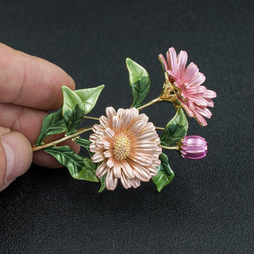 Fashion Beautiful 3 Colors Enamel Daisy Chrysanthemum Flower Brooch Pin Broach For Woman Jewelry 04723