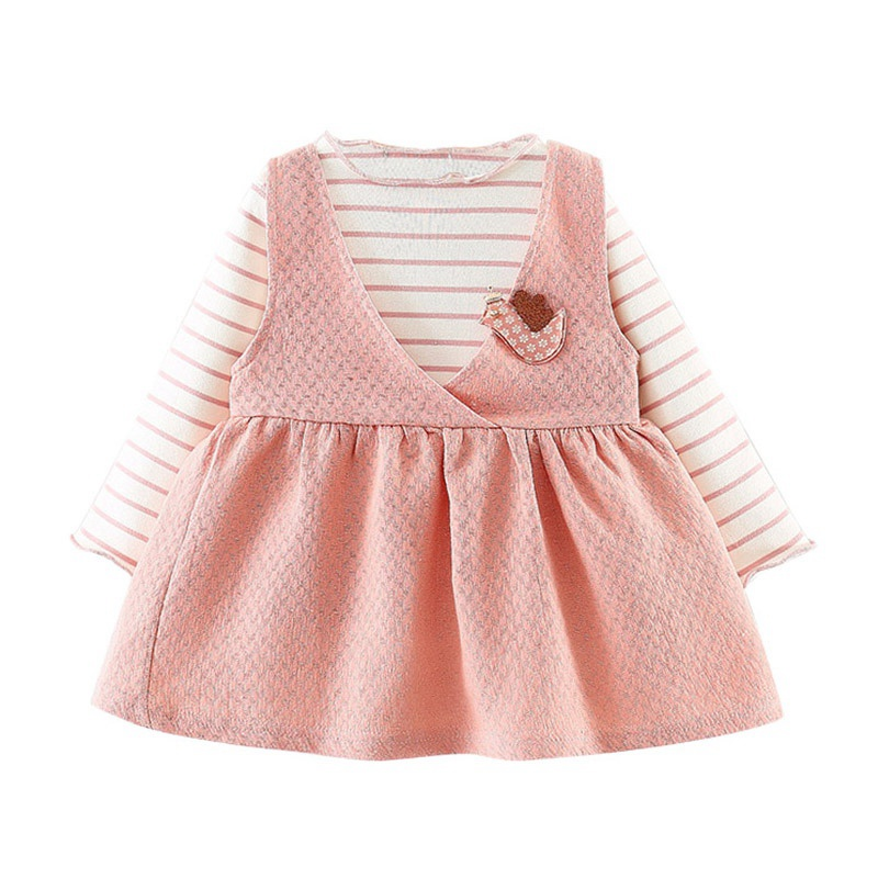 Autumn Baby Clothes Girl Dress Casual Striped Shirts Long Sleeve 2 Piece Dresses Fashion in Dresses from Mother Kids