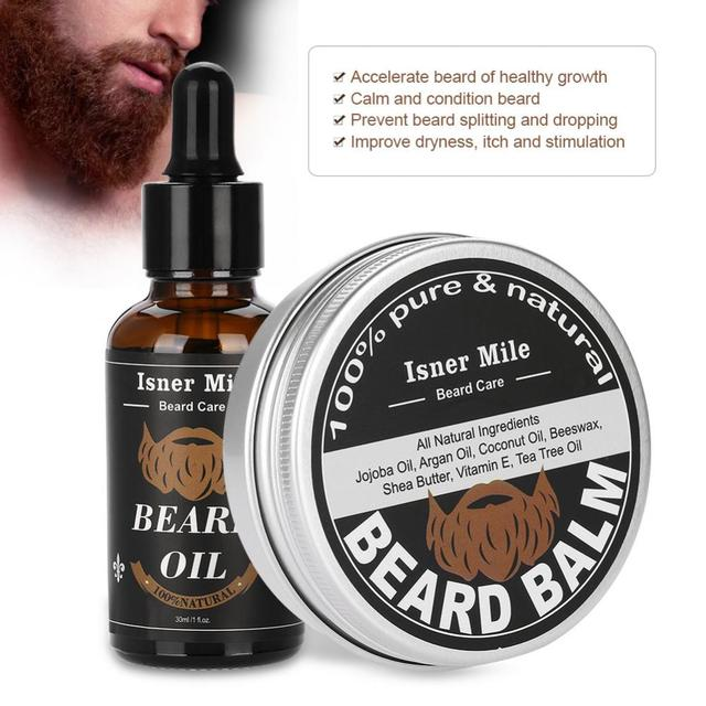 2Pcs/Set Men Beard Care 60g Beard Care Clean Shaver Beard Grooming Set Moisturizing Balm + 30g Beard Oil