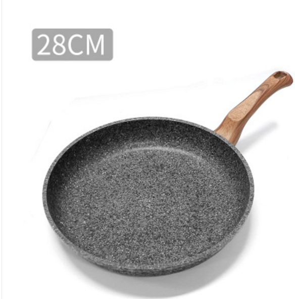 28CM Thicken Granite Coating Frying Pan Nonstick Pancake Pan Smokeless Frying Cooker Egg Breakfast Grill Pan With Wood Handle