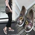 Alpercatas Loafer Sapatos de Cristal Mulher Sapatos Flats 2017 Primavera Outono Flats Mulheres dedo do pé Redondo confortável Sapatos SlipOn Preto/Khaki